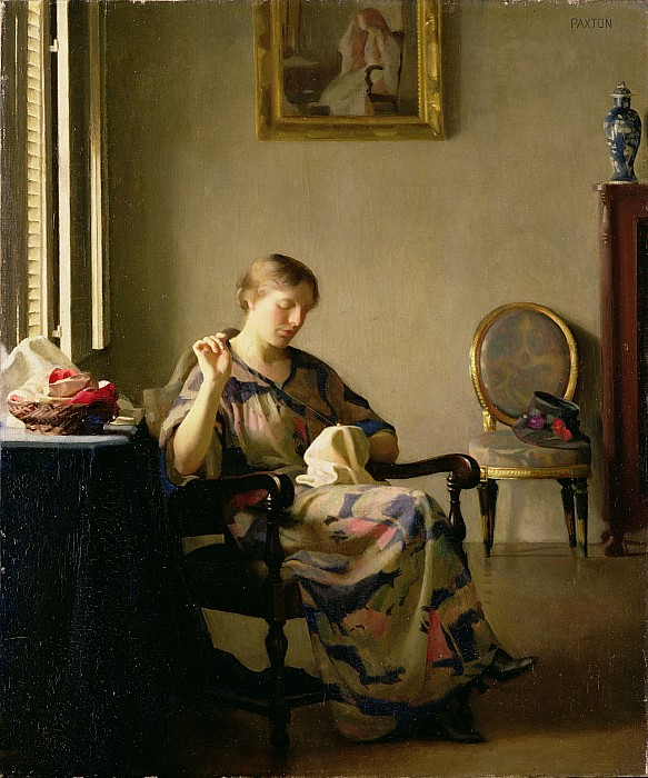 Dtr114630 Photograph - Woman Sewing by William McGregor Paxton