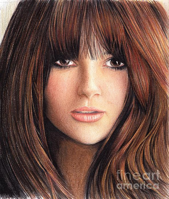 Colored Pencils Drawing - Woman With Brown Hair by Muna Abdurrahman