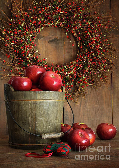 Apple Photograph - Wood Bucket Of Apples For The Holidays by Sandra Cunningham