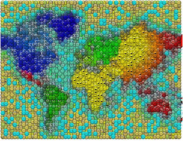 World peace smiley face world map mosaic digital art by paul van scott world map digital art world peace smiley face world map mosaic by paul van scott publicscrutiny Image collections