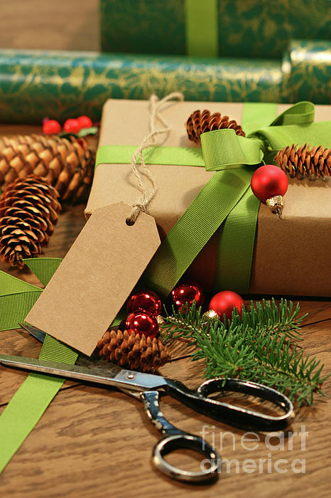 Background Photograph - Wrapping Gifts For The Holidays by Sandra Cunningham