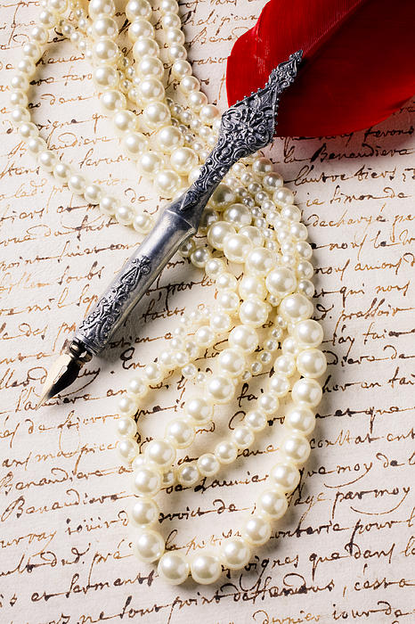 Writing Pen Pearls Old Letter Photograph - Writing Pen And Perals  by Garry Gay