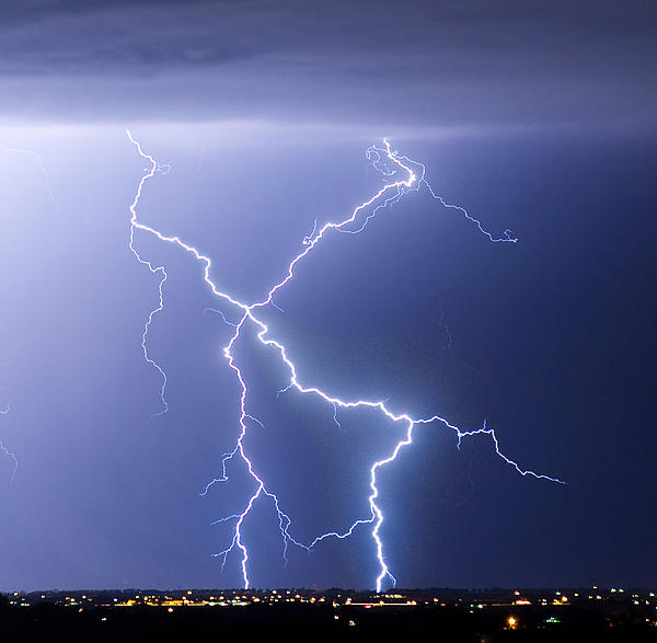 City Photograph - X Lightning Bolt In The Sky by James BO  Insogna