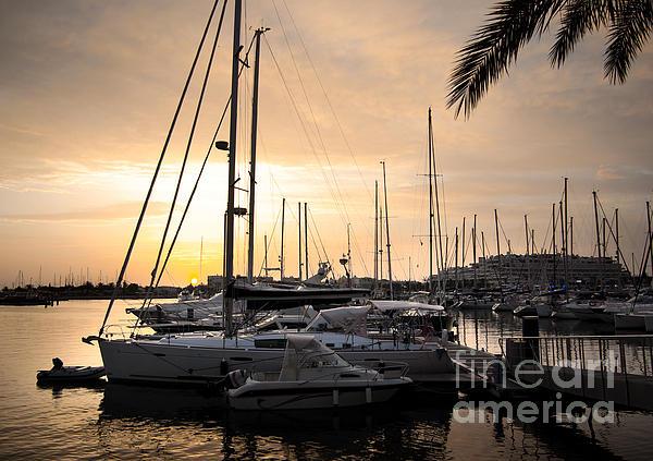 Anchor Photograph - Yachts At Sunset by Carlos Caetano