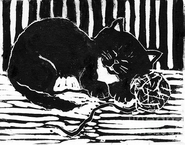 Lino Mixed Media - Yarn Cat  Block Print by Ellen Miffitt