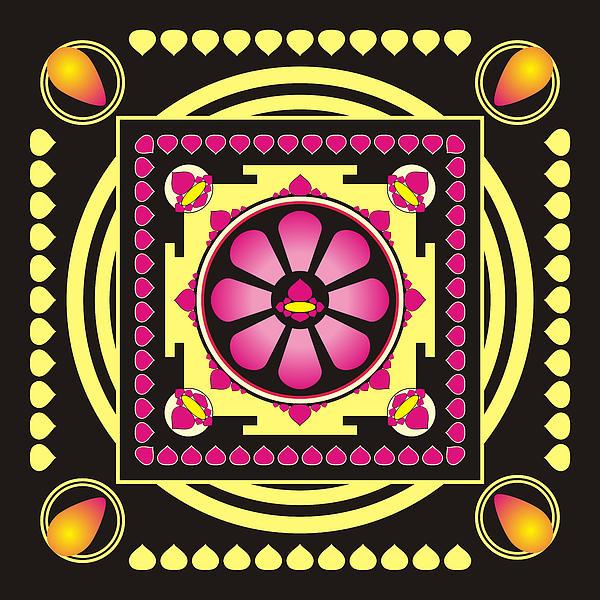 Mandala Digital Art - Yellow And Pink Mandala by Steeve Dubois