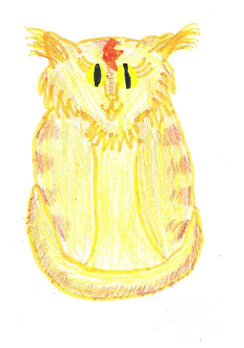 Cat Drawing - Yellow Cat by Jeannie Atwater Jordan Allen