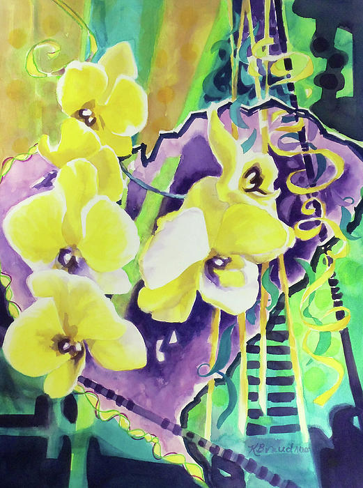 Paintings Painting - Yellow Orchids Of The Heart by Kathy Braud