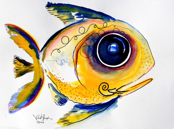 Fish Painting - Yellow Study Fish by J Vincent Scarpace