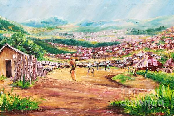 Village Scene Painting - Yesteryears by Uly Ogwah