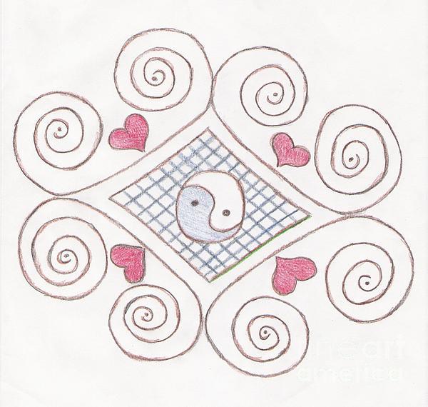 Yin Yang Drawing - Yin Yang Swirls Pastel by Jeannie Atwater Jordan Allen