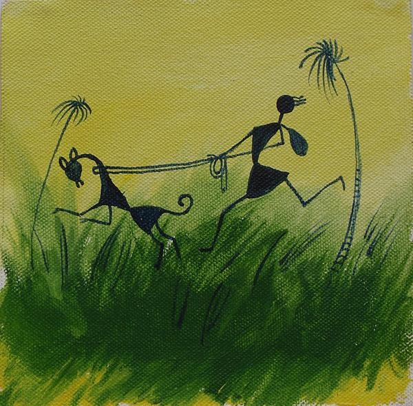 Tribal Painting - You En I In This Beautiful World by Chintaman Rudra