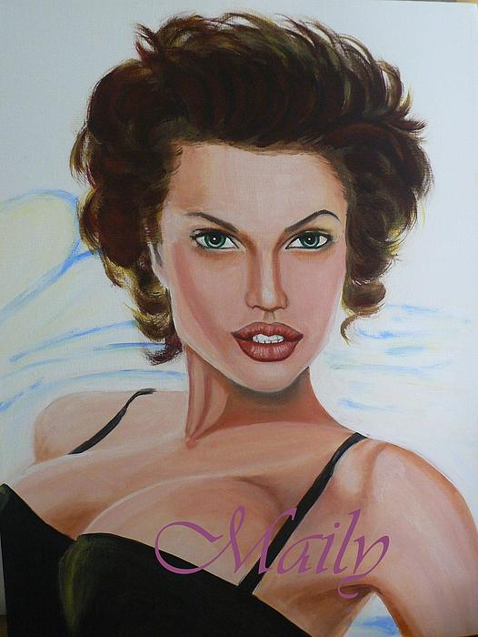 Angelina Jolie The Actress Painting - Young Angilina Jolie by Maily