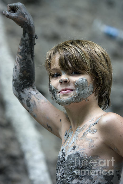 Vertical Photograph - Young Boy Covered With Mud by Christopher Purcell