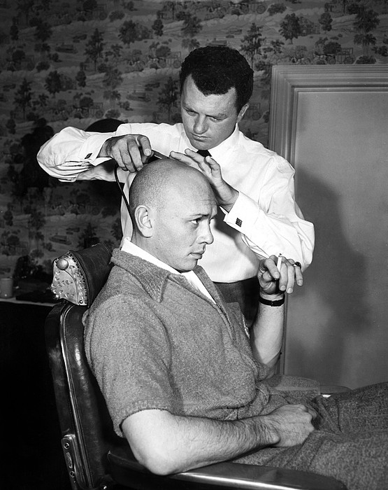 Bald Head Photograph - Yul Brynner Getting Shaved By Makeup by Everett