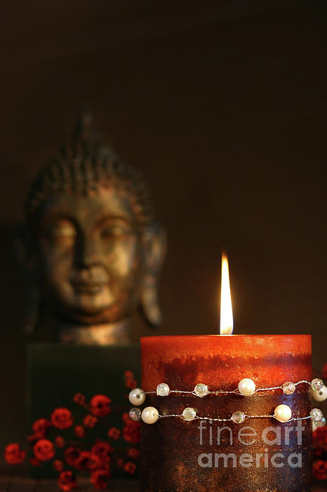 Asia Photograph - Zen Candle And Buddha Statue by Sandra Cunningham