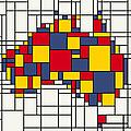 Mondrian Inspired Australia Map by Michael Tompsett