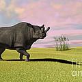 Brontotherium Grazing In Prehistoric by Kostyantyn Ivanyshen