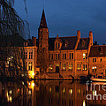 Bruges Rozenhoedkaai Night Scene by Kiril Stanchev
