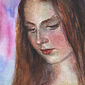 Young Woman Watercolor Portrait Painting by Svetlana Novikova