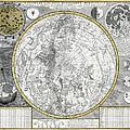 1700 Celestial Planisphere by Daniel Hagerman
