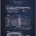 Fender Floating Tremolo Patent Drawing From 1961 - Navy Blue by Aged Pixel