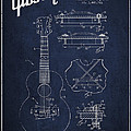 Mccarty Gibson Stringed Instrument Patent Drawing From 1969 - Navy Blue by Aged Pixel
