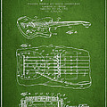 Fender Floating Tremolo Patent Drawing From 1961 - Green by Aged Pixel