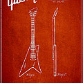 Mccarty Gibson Stringed Instrument Patent Drawing From 1958 - Red by Aged Pixel