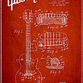 Mccarty Gibson Les Paul Guitar Patent Drawing From 1955 - Red by Aged Pixel