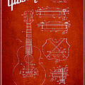 Mccarty Gibson Stringed Instrument Patent Drawing From 1969 - Red by Aged Pixel