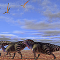 A Herd Of Parasaurolophus Dinosaurs by Corey Ford