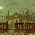 A Lady In A Garden By Moonlight by John Atkinson Grimshaw