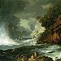 A View Of Cape Stephens In Cook's Straits With Waterspout by William Hodges