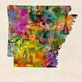 Arkansas Watercolor Map by Michael Tompsett