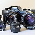 Asahi Pentax Auto 110 Mini Camera And Lenses by Melany Sarafis
