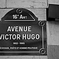 Avenue Victor Hugo Paris Road Sign by Georgia Fowler