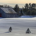 Barn In Snow In Color by Donna Doherty