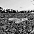 Baseball - Home Plate - Black And White by Paul Ward
