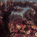 Basket Of Flowers In A Park by Eugene Delacroix