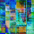 Blue Squares Abstract Art by Ann Powell