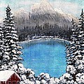 Cabin By The Lake - Winter by Barbara Griffin