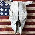 Cow Skull On Folk Art American Flag by Garry Gay