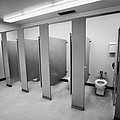 cubicle toilet stalls in womens bathroom in a High school canada north america by Joe Fox