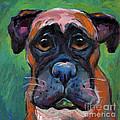 Cute Boxer Puppy Dog With Big Eyes Painting by Svetlana Novikova