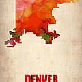 Denver Watercolor Map by Naxart Studio