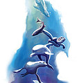endangered sea life Water colour giclee print with eye and sea mammals Ocean Tears by Sassan Filsoof