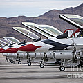 F-16c Thunderbirds On The Ramp by Terry Moore