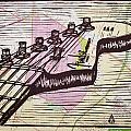 Fender Strat On Map by William Cauthern