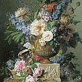 Flowers In An Alabaster Vase by Gerard Van Spaendonck